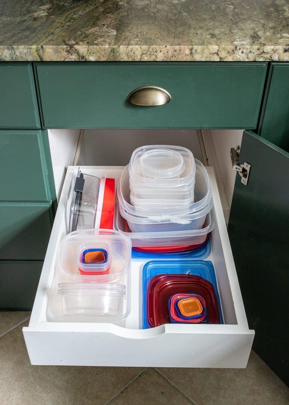 Kitchen Organization Makeover | Tupperware Drawer Organization