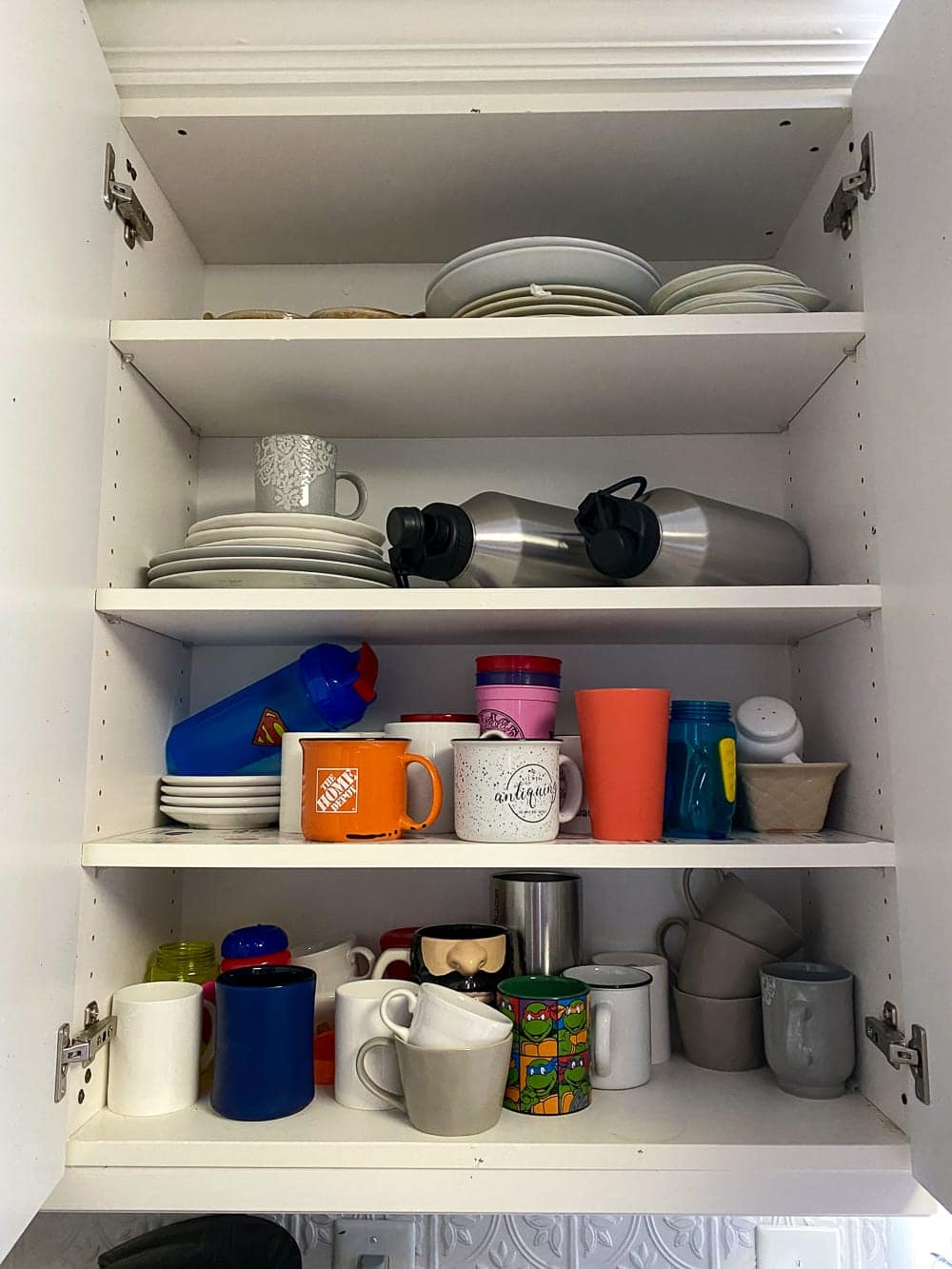 Kitchen Organization Makeover | Dishware Cabinet Before