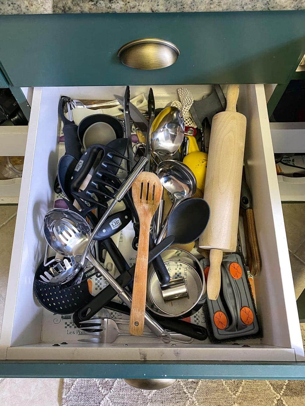 Kitchen Organization Makeover | Utensil Drawer Before