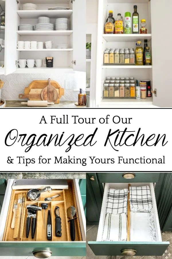 Our Full Kitchen Organization Tour | A full kitchen tour with before and after kitchen organization ideas and quick tips to make it extra functional and clutter-free.