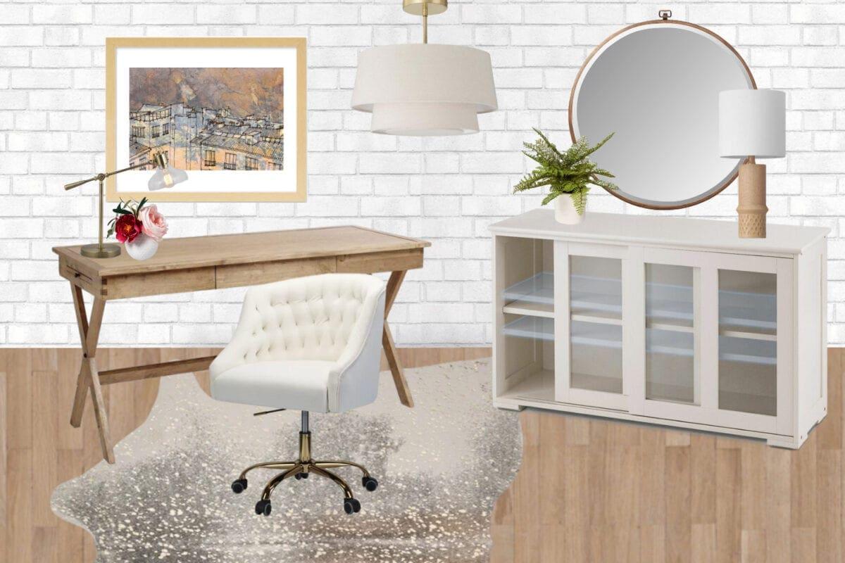 Home office ideas | white brick mood board