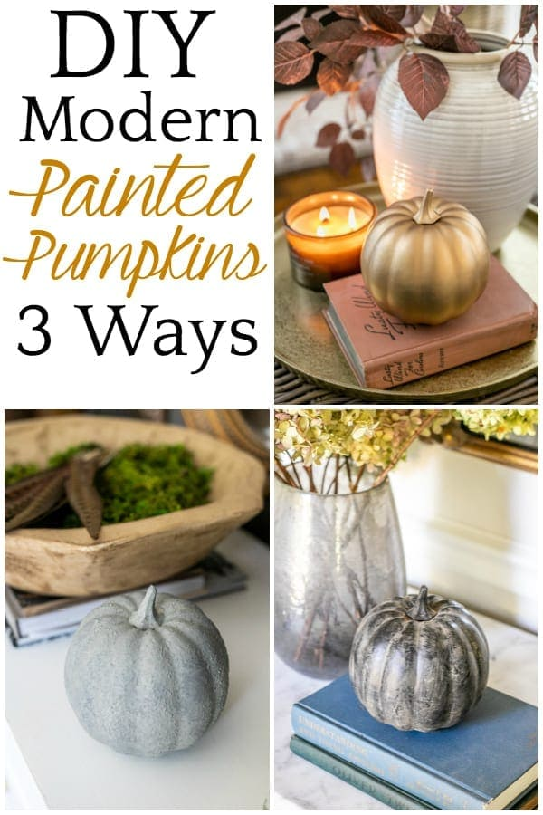 DIY Modern Painted Pumpkins 3 Ways   3 techniques for DIY painted pumpkins using spray paint, metallics, and dirt to create concrete, antique brass, and black earthenware looks.