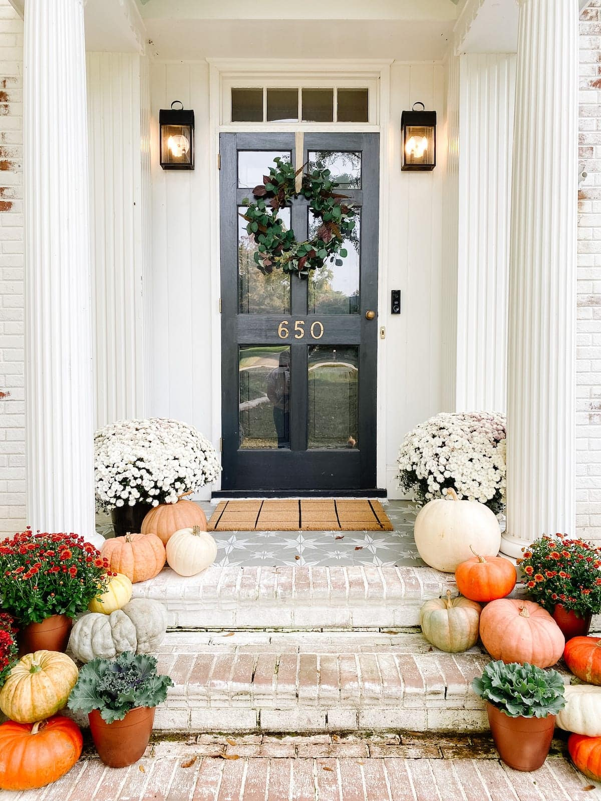 fall porch with stenciled floor