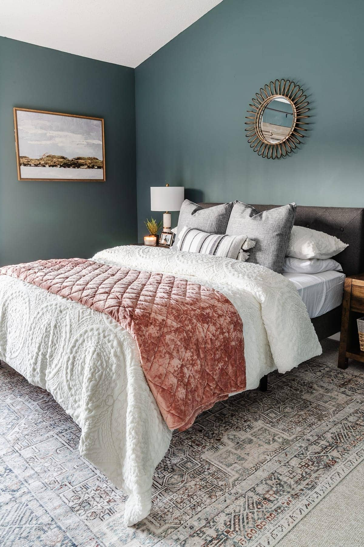 teal and blush bedroom