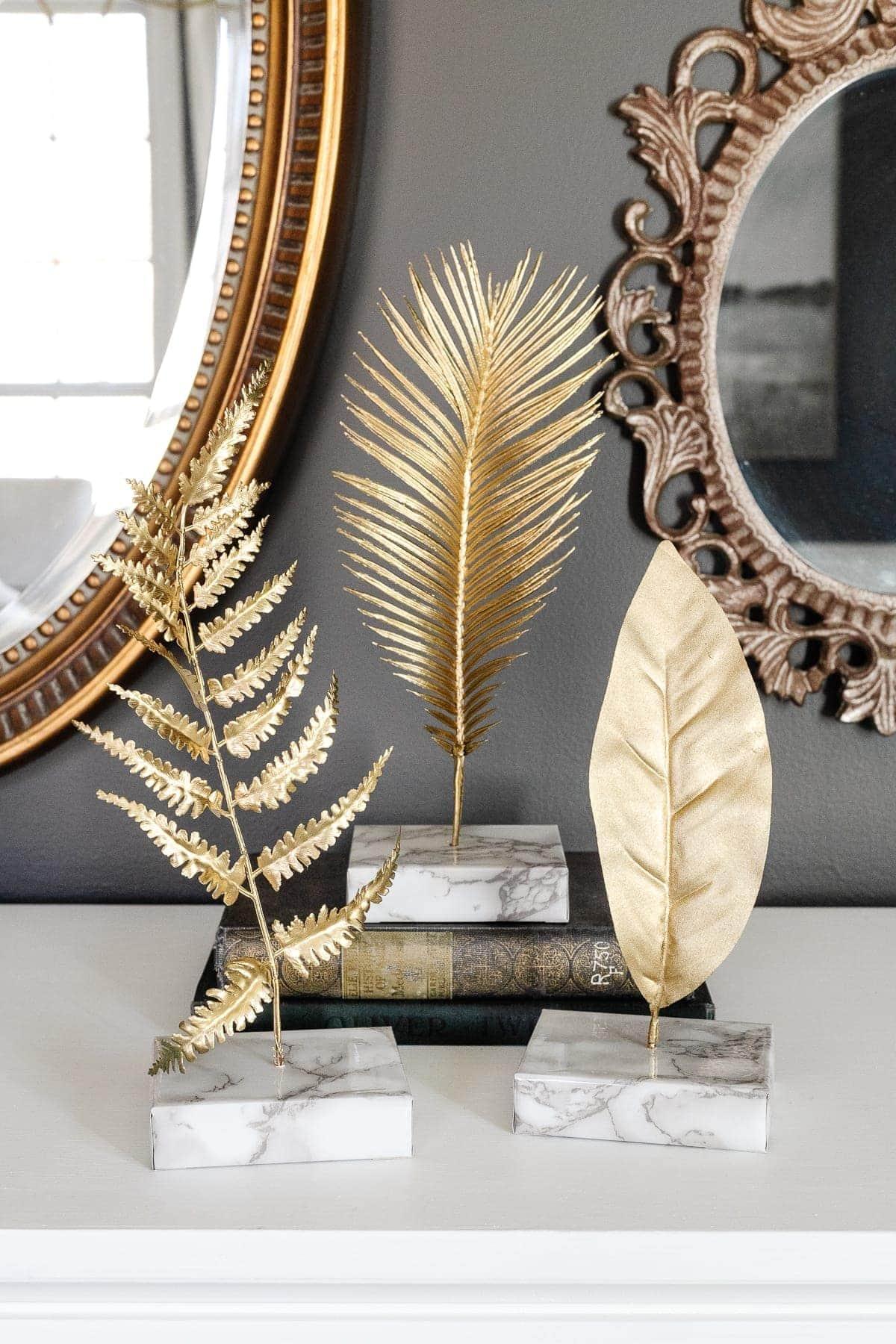 DIY Gold Leaf Sculpture in Faux Marble Blocks