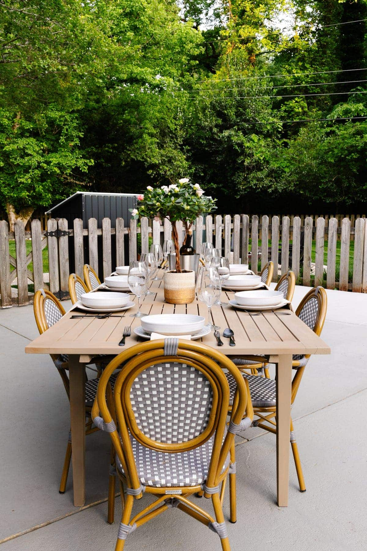 outdoor dining table set for a birthday party