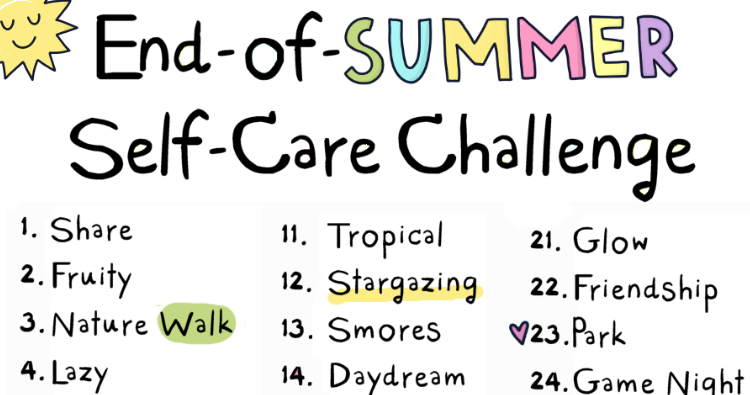 August End-Of-Summer Self-Care Challenge!