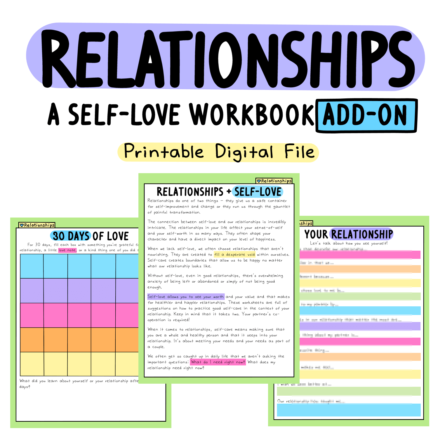 The Self Love Workbook Add Ons
