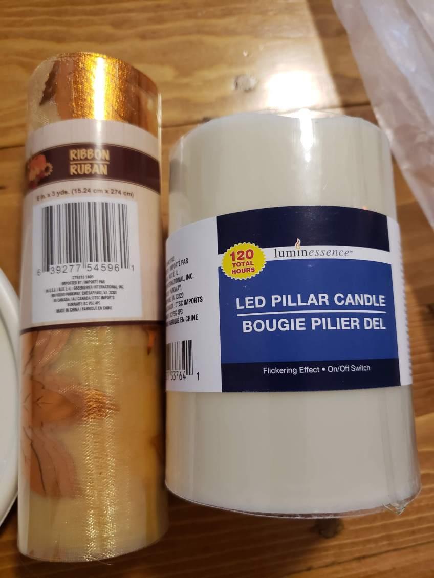 Ribbon and Pillar Candle