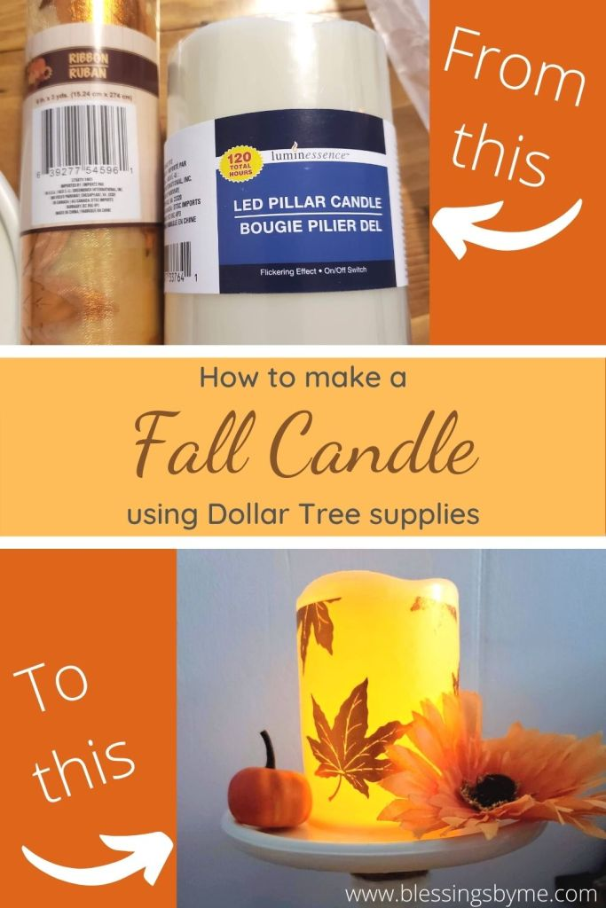 fall candle holder Dollar Tree DIY