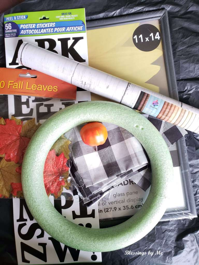Materials needed for fall wreath wall decor