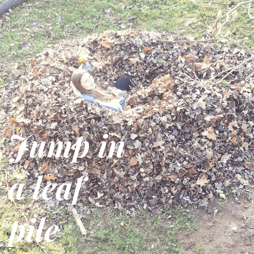 Jump in a leaf pile - fall family activities