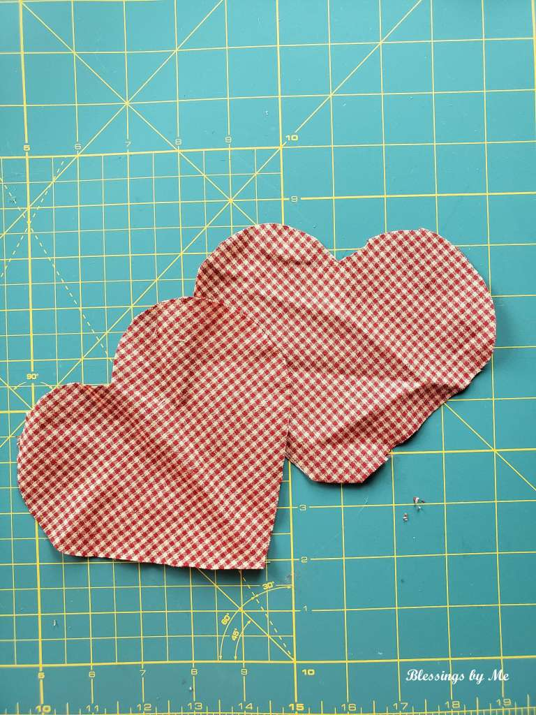 Step 1 - cut out the fabric hearts