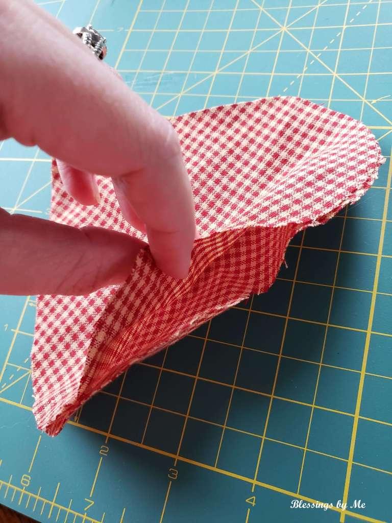 Step 2 - glue the fabric hearts