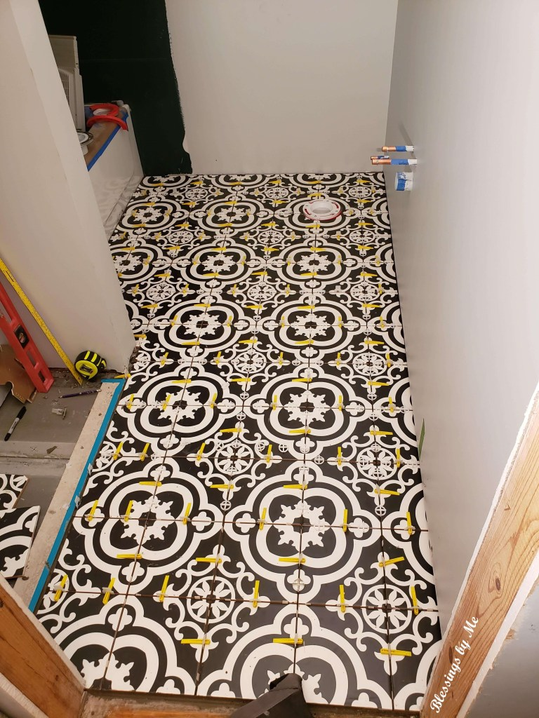 completed floor tile - home renovation update