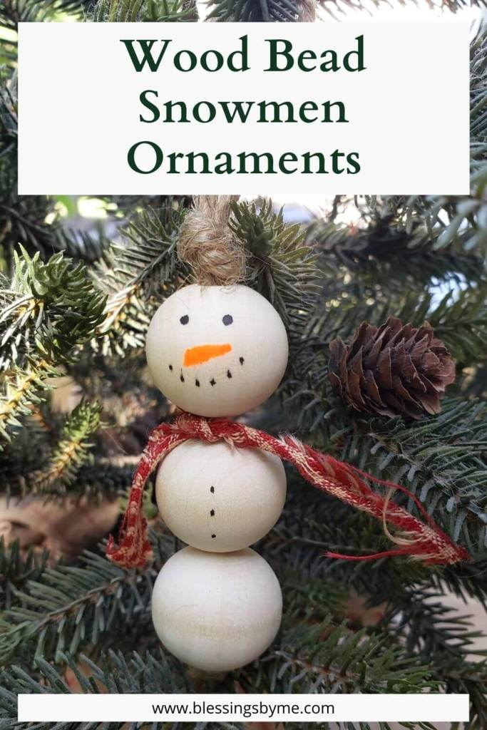 Wood Bead Snowmen Ornaments