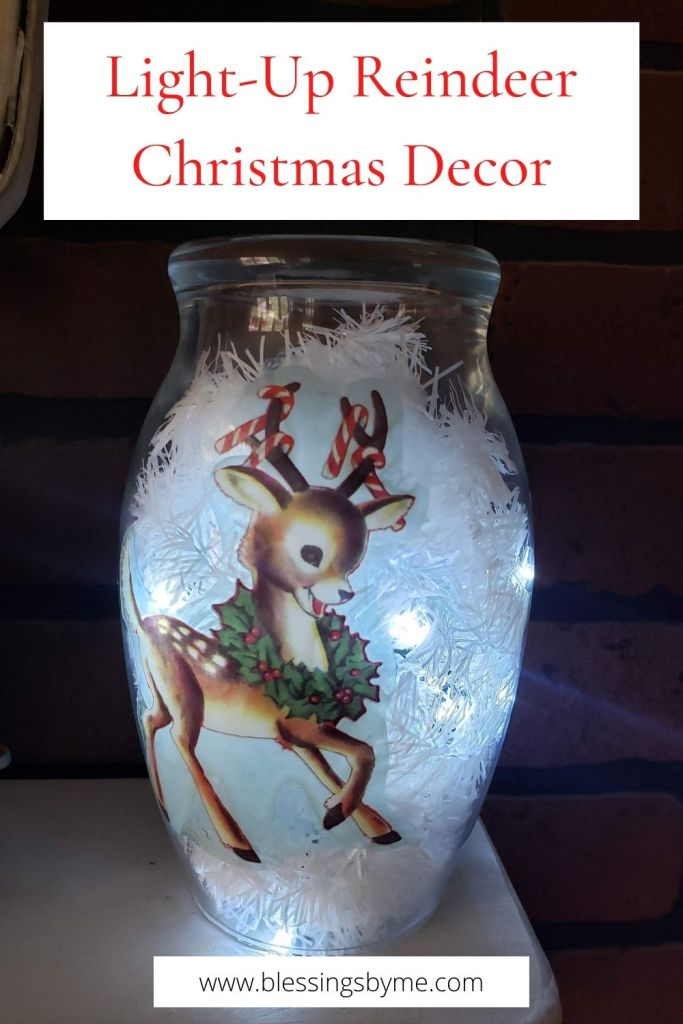 Light-Up Reindeer Christmas Vase