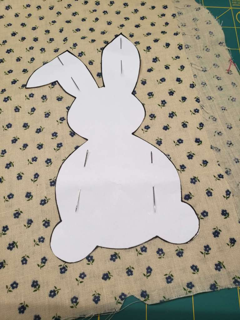Step 1 - pin the bunny template to the fabric