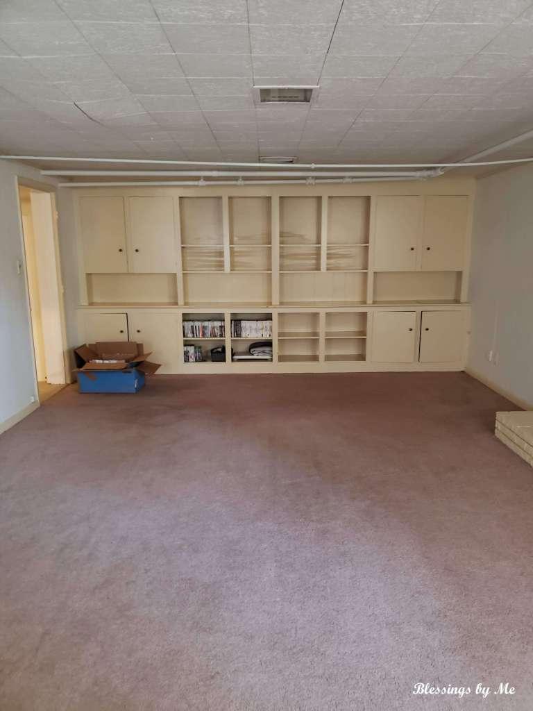 game room shelves in basement