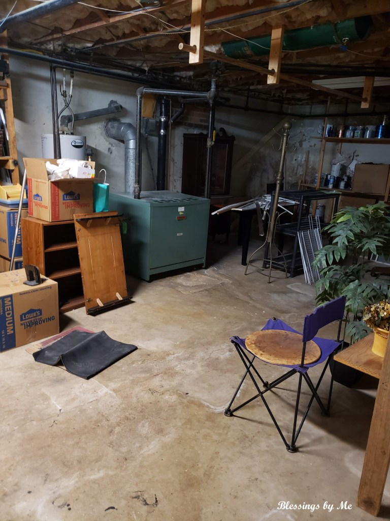 mess in the basement