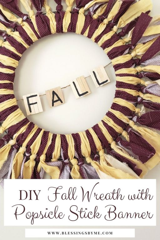 Fall Wreath with Popsicle Stick Banner