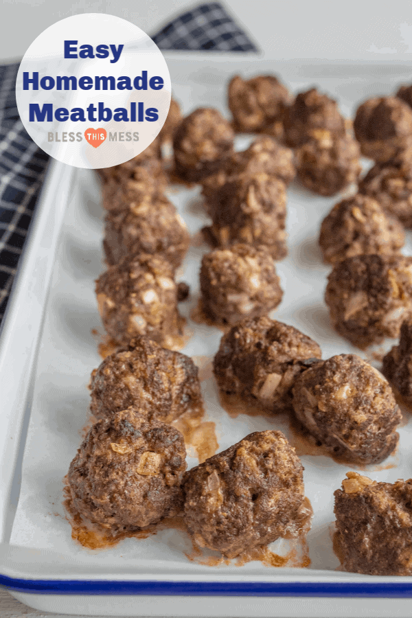 Homemade meatballs made with ground beef, bread crumbs, and just a few other simple ingredients that come together to make one delicious flavor filled meatball.
