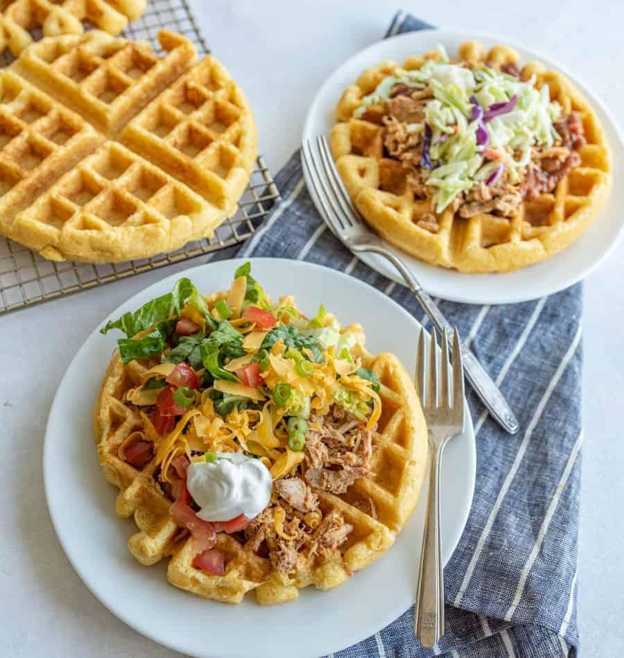 Image of Taco Topped Cornbread Waffles