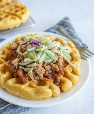 Cornbread Waffles with Pulled Pork, Beans, and Slaw