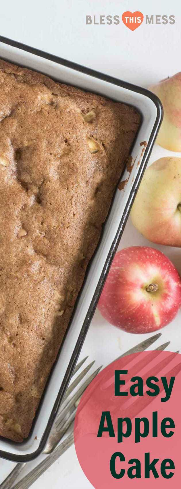 A pan of apple cake with title image for Easy Apple Cake