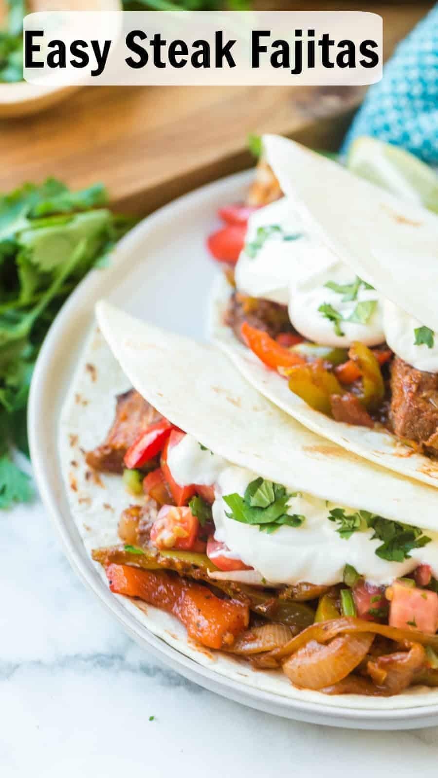 Easy steak fajitas come together fast with simple, fresh ingredients, including onion, peppers, salsa, pre-grilled steaks, and smoky, savory seasonings. #fajitas #steak #steakfajitas #texmex #mexicanfood #grilledsteak