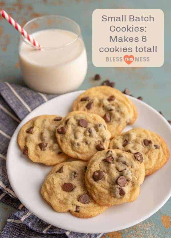 Super Small Batch Chocolate Chip Cookies (Makes 6 Cookies!)