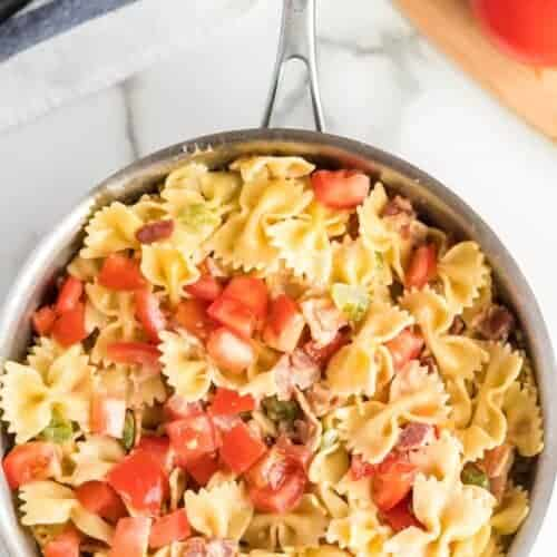 Creamed Pasta with Bacon and Vegetables