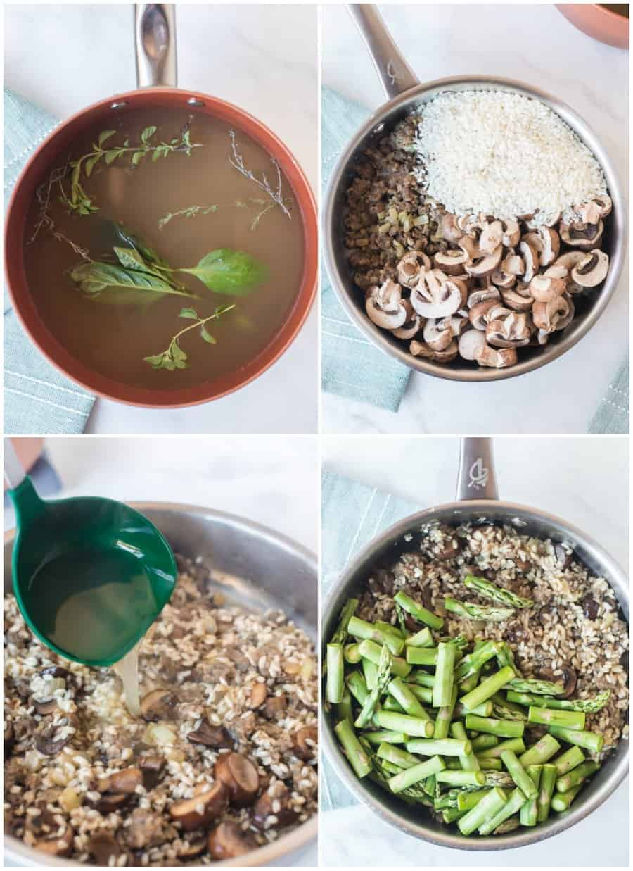 sausage asparagus mushroom risotto recipe how to collage image