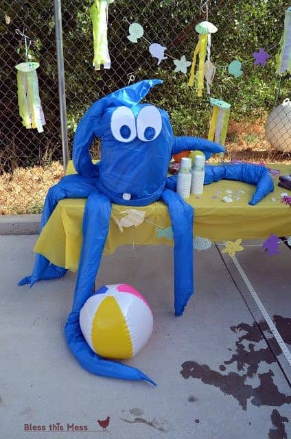 A giant hand-crafted blue octopus table decoration