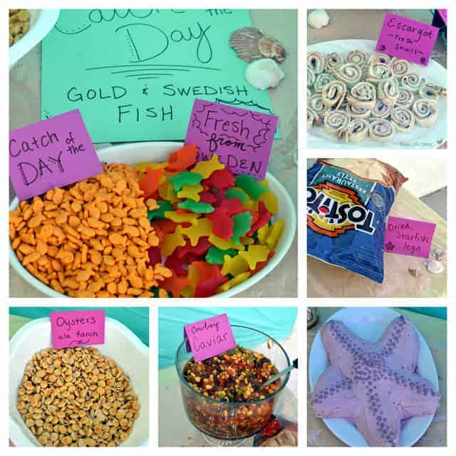 A collage of beach-themed party snacks and a starfish shaped cake