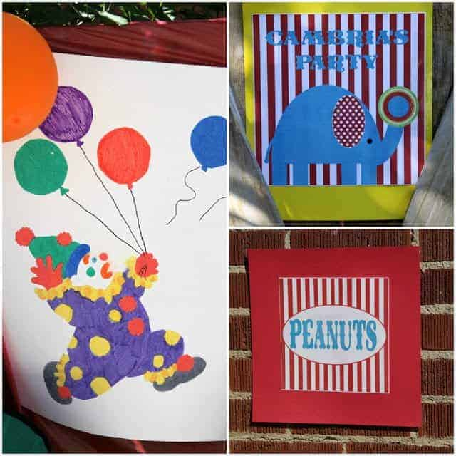 A collage of three circus-themed party decorations and signs
