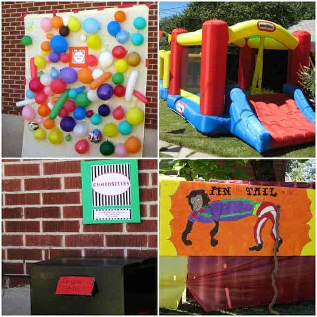 A collage of four different circus-themed party games, including a bounce house and balloon pop game