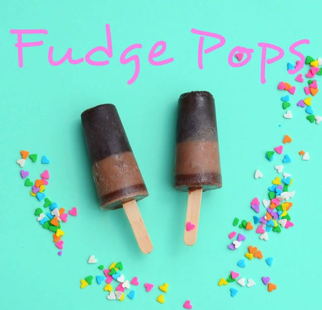 Text for Fudge Pops and two homemade fudge pops with confetti on an aqua background