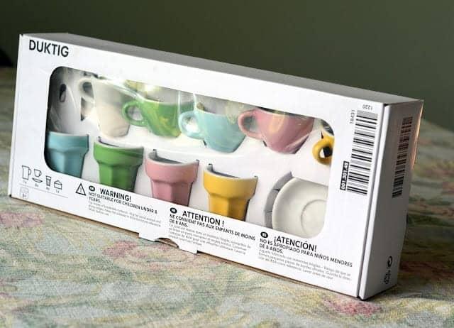 A colorful tea set in original box