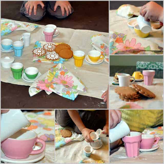 A collage of images of a tea party with colorful tea set, cloth napkins, and cookies
