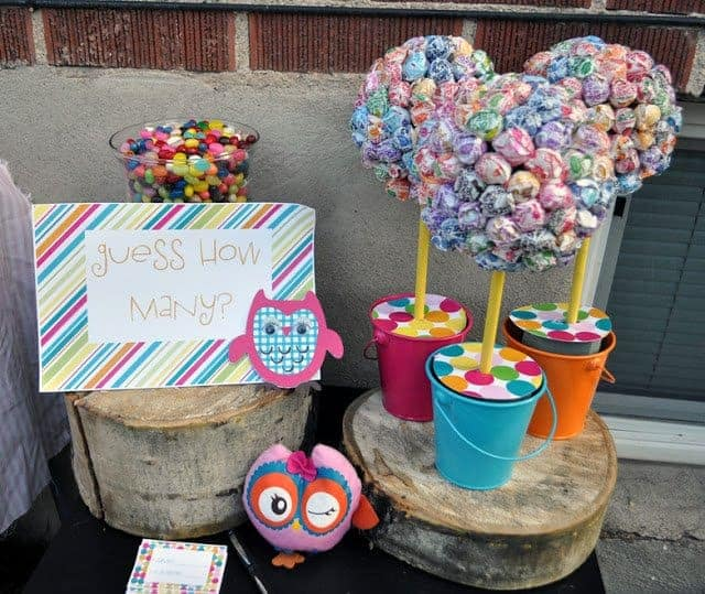 Owl-themed party games with candy