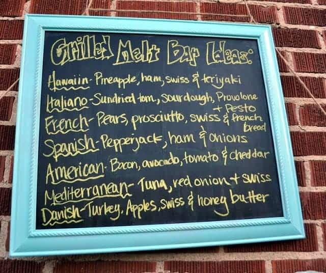 Grilled Melt Bar chalkboard menu