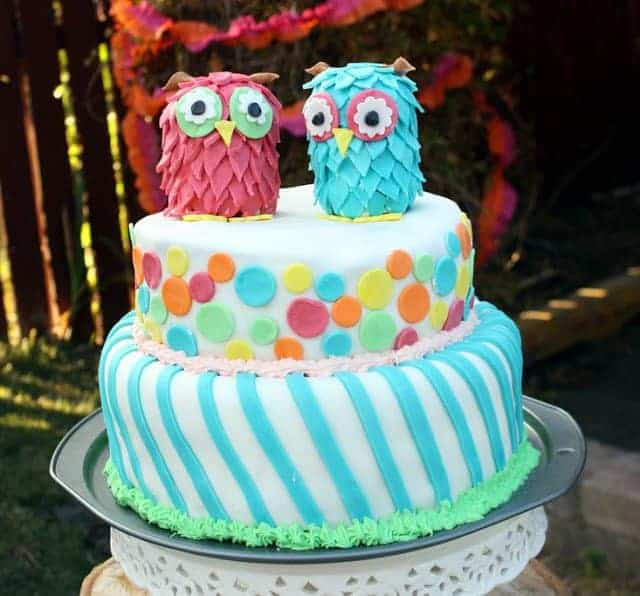 A two-tiered birthday cake with two owls on top