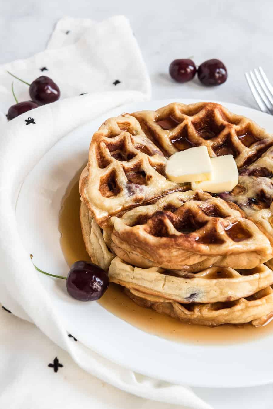 Sweet Cherry Waffles Recipe