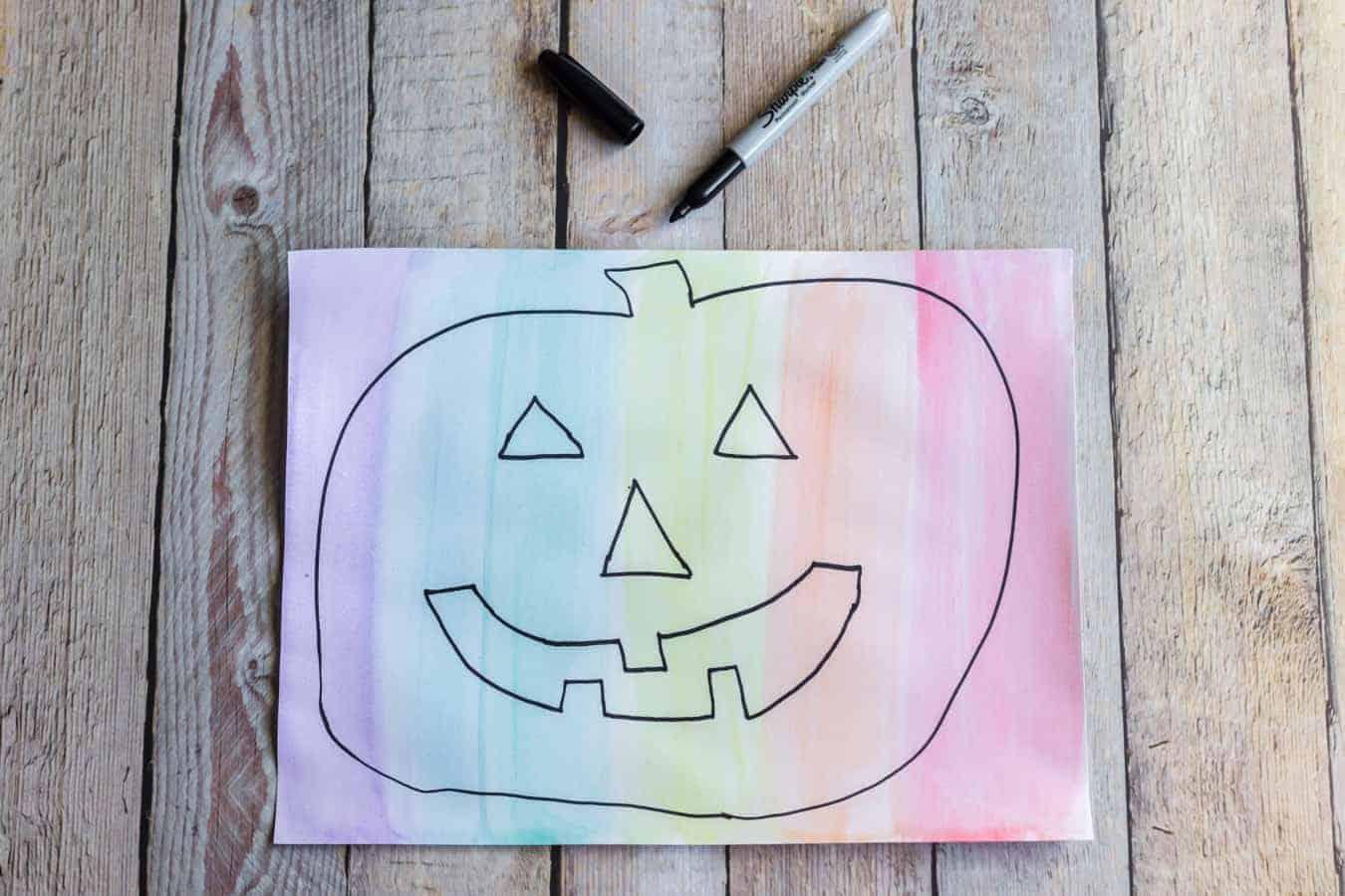 Image of a Rainbow Pumpkin Painting in Progress