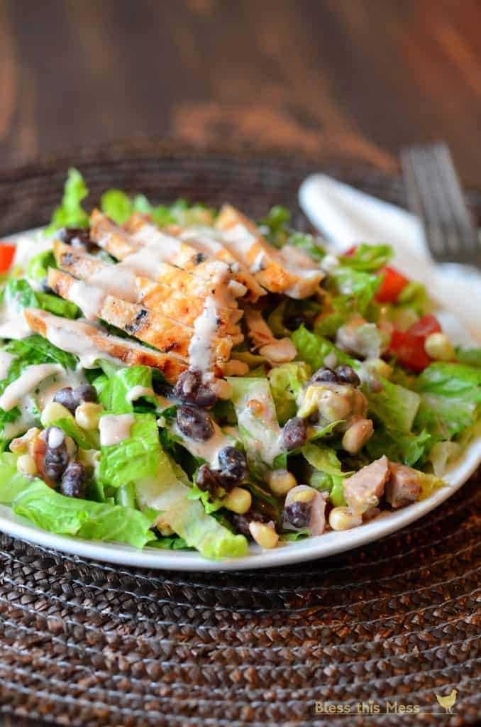 salad with BBQ ranch corn and black beans, BBQ ranch chicken salad recipe, homemade barbecue ranch dressing salad recipe
