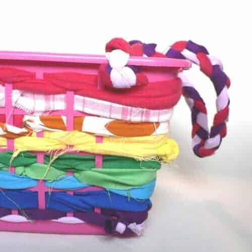 How to: No Sew Scrap Fabric Basket with Handles