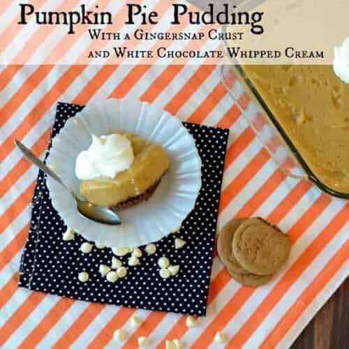 Pumpkin Pie Pudding with a Gingersnap Crust and White Chocolate Whipped Cream