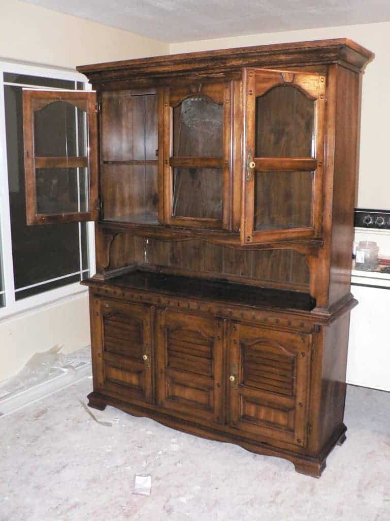 how to paint furniture, painting laminate without sanding, no sanding furniture redo, painted kitchen hutch