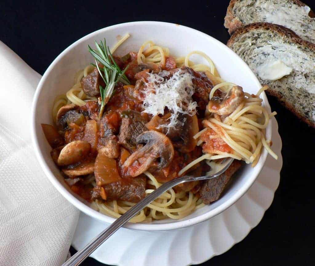 Homemade pasta sauce with steak, steak and mushroom sauce